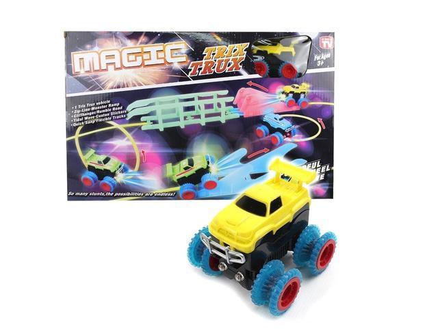 Magic Trix Trux  модель XL110, Машинки Трикс Тракс, Монстр-трак, Трасса с трамплинами с машинкой вездеходом