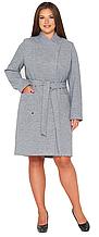 Пальто демисезонное женское NIO Collection Венеция Cеро-голубой, диагональ, пальто шерстяное женское
