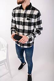 😜Рубашка - мужская теплая байковая рубашка черно-белая клетка