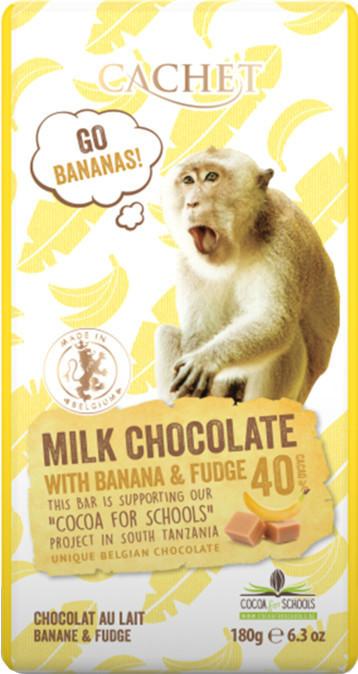 """Шоколад """"Cachet"""" Milk Chocolatewith Banana and Fudge Tanzania, 40% Cocoa. Бельгия 180 г"""