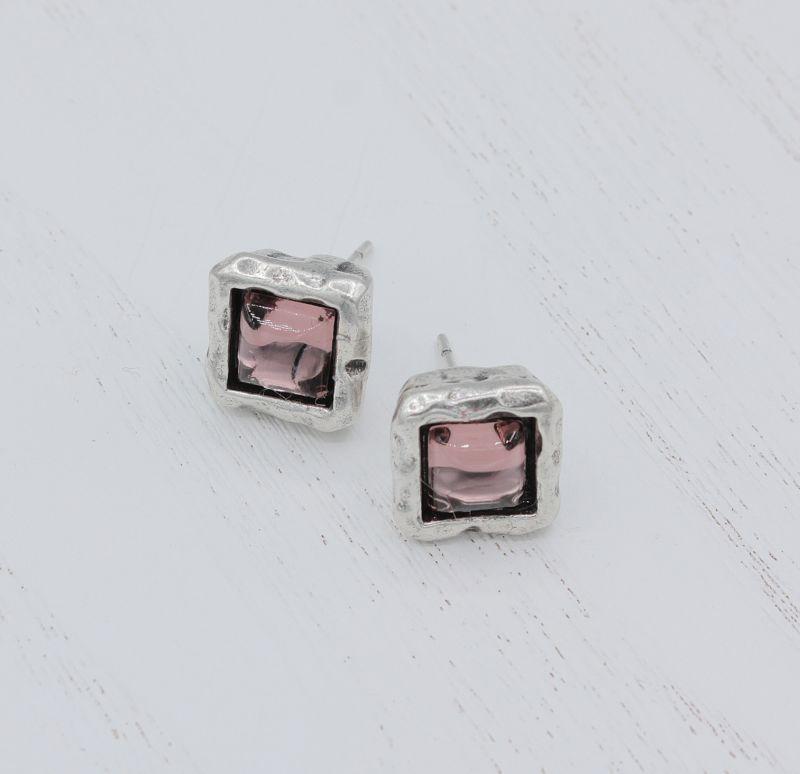 Купить Серьги пусеты женские с фиолетовыми камнями Вега аметист, Скифская Этника