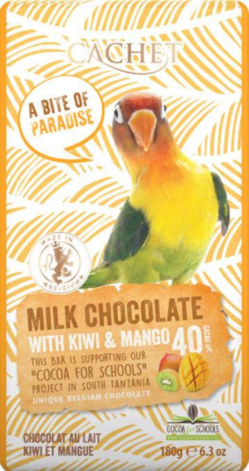 "Шоколад""Cachet"" Milk Chocolate with Kiwi and Mango Tanzania, 40% Cocoa. Бельгия 180 г"