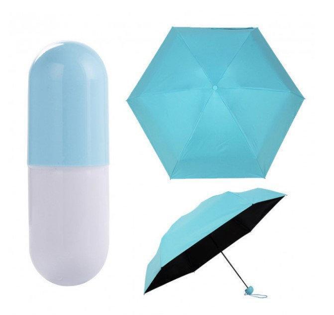 Зонтик-капсула ГОЛУБОЙ, Зонт в чехле, Капсульный зонт, Маленький зонт складной, Механический зонт