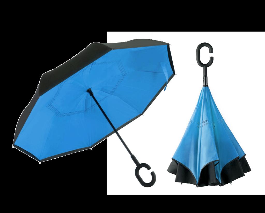 Зонтик одноцветный umbrella ГОЛУБОЙ, Зонт наоборот, Зонт трость, Обратный зонт, Ветрозащитный зонт