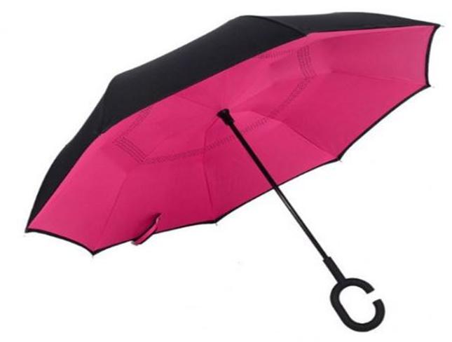 Зонтик одноцветный umbrella РОЗОВЫЙ, Обратный зонт, Зонт складываеться наоборот, Зонтик трость женский