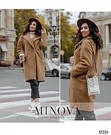 Пальто женское двубортное меховое длины миди кашемир барашек размер 48-56 универсальный,коричнев.