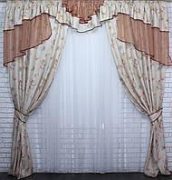 Комплект шторы с ламбрекеном на карниз 3м.