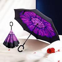 Зонтик umbrella ЦВЕТОК ФИОЛЕТОВЫЙ, Ветрозащитный зонт  наоборот, Зонт обратного складывания, Трость зонт, фото 1