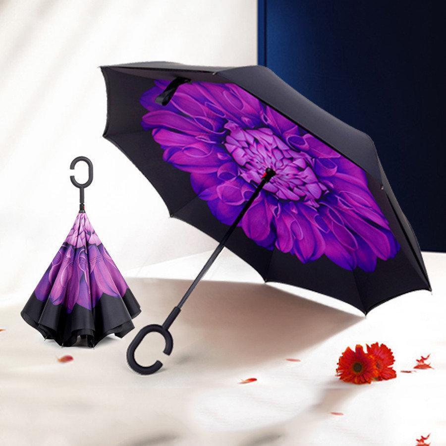 Зонтик umbrella ЦВЕТОК ФИОЛЕТОВЫЙ, Ветрозащитный зонт  наоборот, Зонт обратного складывания, Трость зонт