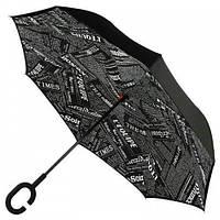 Зонтик umbrella ГАЗЕТА ЧЕРНАЯ, Зонт трость, Обратный умный зонт, Зонт антиветер, Зонт наоборот складной