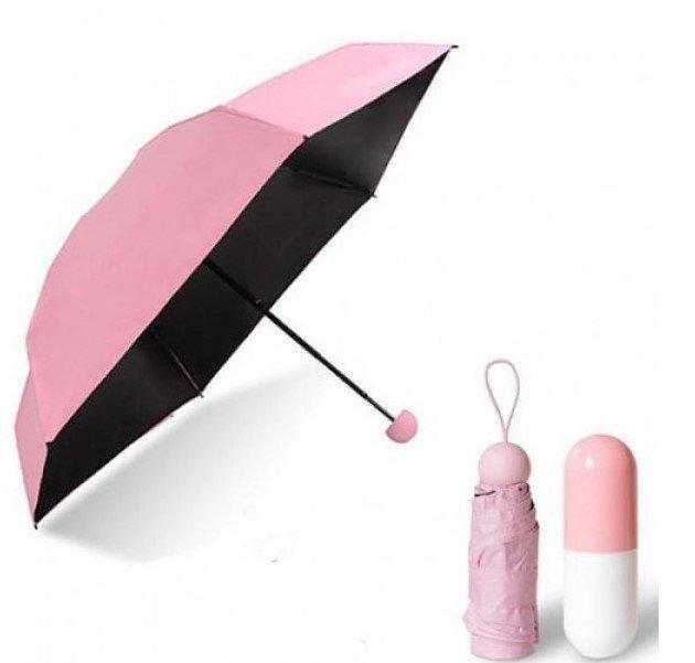 Мини РОЗОВЫЙ зонтик в футляре, Ультракомпактный зонт, Маленький складной зонтик, Зонт с капсулой складной