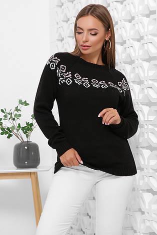 Свитер женский. В'язаний светр. Джемпер женский 168 черный, фото 2