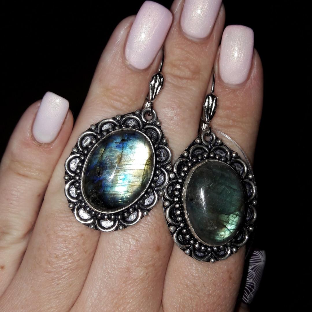 Серьги с лабрадором. Серьги с натуральным камнем лабрадор в серебре Индия