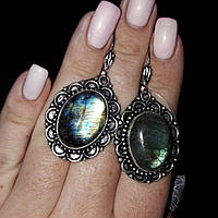 Серьги с лабрадором. Серьги с натуральным камнем лабрадор в серебре Индия, фото 1
