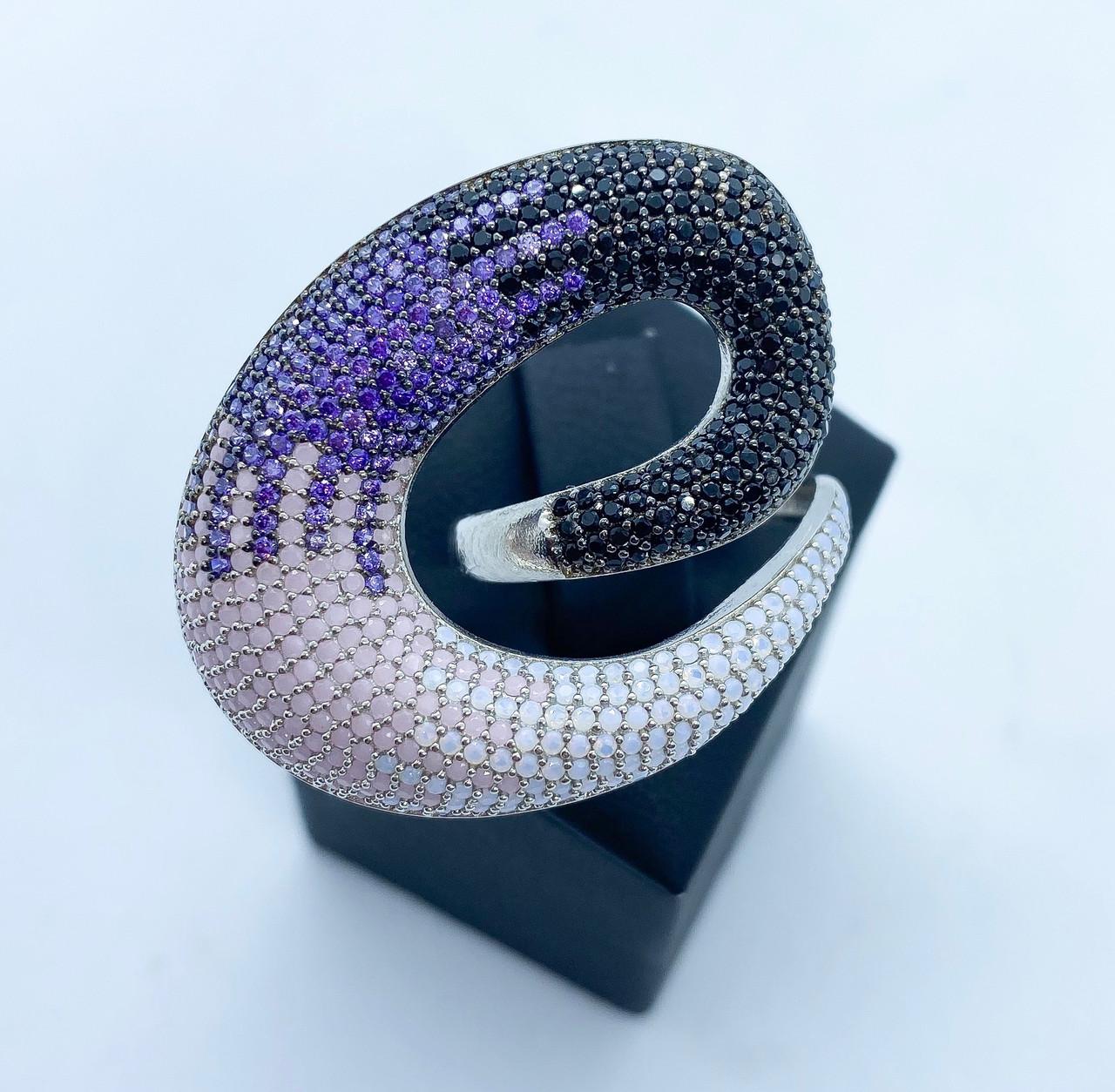 Кольцо 3D из серебра 925 Beauty Bar с разноцветными камнями (размер 17 и 18)