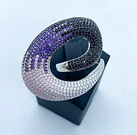 Кольцо 3D из серебра 925 Beauty Bar с разноцветными камнями (размер 17 и 18), фото 1