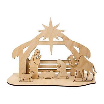 """Набор заготовок на подставке """"Рождественский вертеп"""", фанера, 26х7х18,5 см, ROSA TALENT"""
