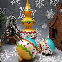Набор стеклянных елочных игрушек и верхушка на елку Irena, фото 2
