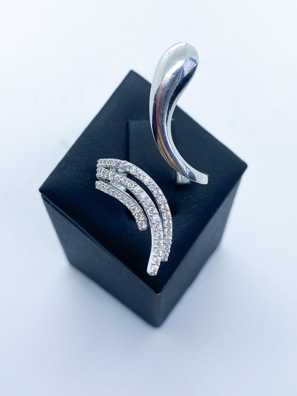 Кольцо из серебра 925 Beauty Bar удлиненная модель  (Размер 16,5-17,5), фото 1