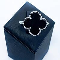 Кольцо из серебра 925 Beauty Bar в стиле VC&A клевер с ониксом (размеры 17 -17,5 мм)