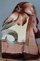 Акриловое плед-одеяло Евро размера - бежевое
