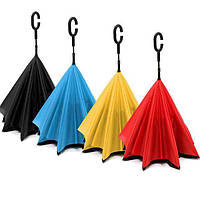 Зонтик одноцветный umbrella КРАСНЫЙ, Зонт-перевертыш, Зонт наоборот, Ветрозащитный зонт, Зонтик трость