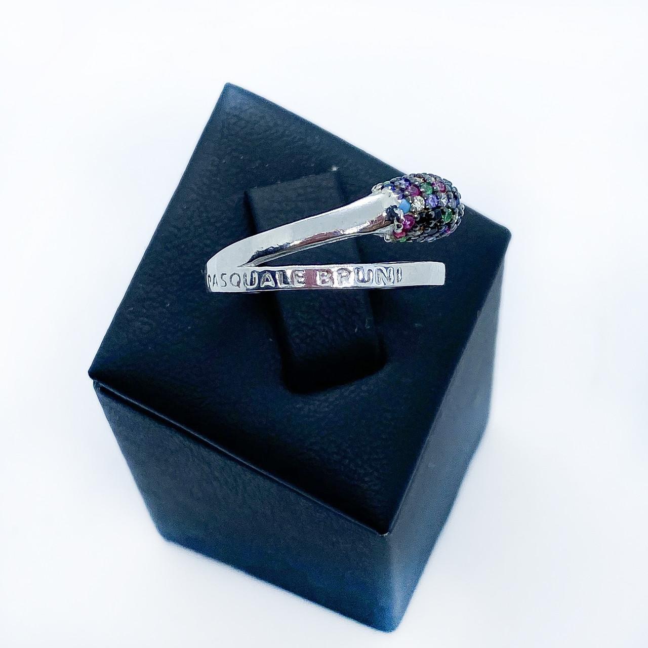 Кільце з срібла 925 Beauty Bar в стилі Pascale Bruni кольорові камені (розмір 17 - 18,5 мм)