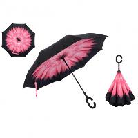 Зонтик umbrella ЦВЕТОК СВЕТЛО-РОЗОВЫЙ, Зонт трость, Зонт антиветер, Зонтик женский обратного складывания