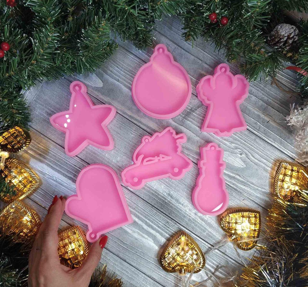 """Молд силиконовый """"Зимняя сказка"""" для заливки смолы, гипса, пластика, шоколада и тд.Пищевой силикон Все 6"""