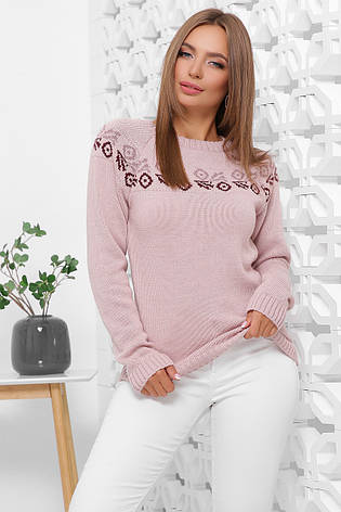 Свитер женский. В'язаний светр. Джемпер женский 168 пудра, фото 2