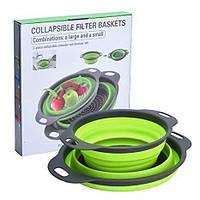 Дуршлаг силиконовый складной большой+маленький Collapsible filter baskets, Друшлак для кухни, Набор друшлагов, фото 1