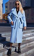 Женское шерстяное зимнее пальто с поясом