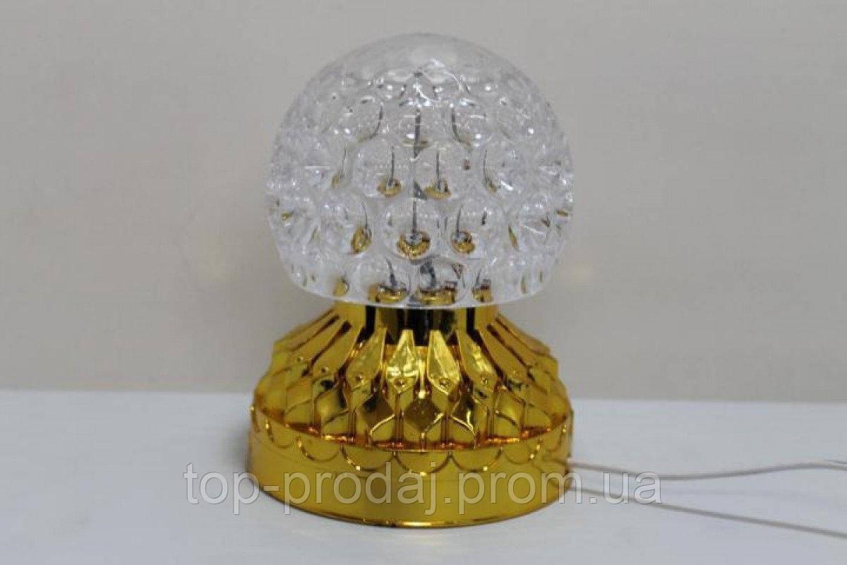 Диско шар на золотой подставке (RD-7207), Светодиодный светомузыкальный шар, Диско проектор шар