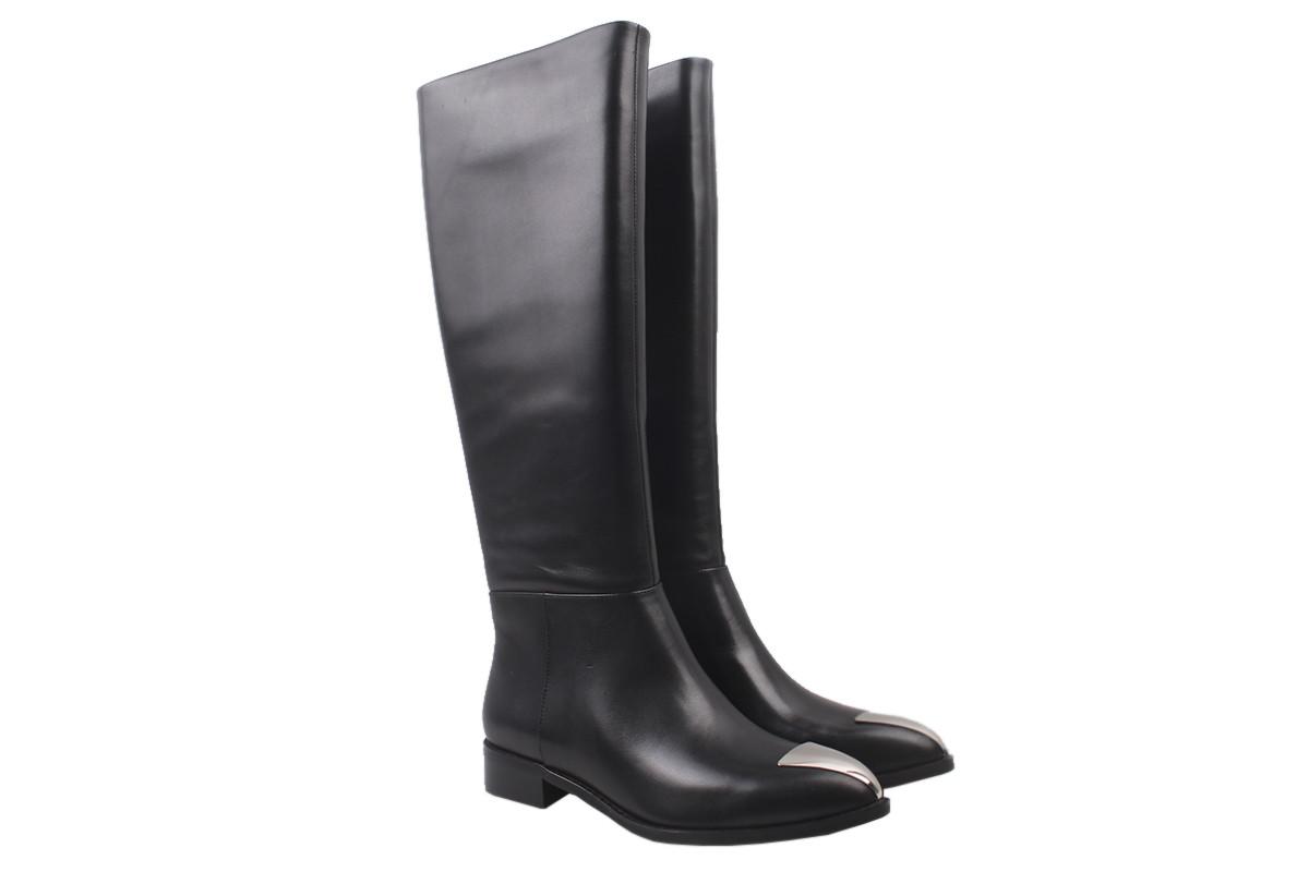 Сапоги женские на низком каблуке из натуральной кожи, черные Basconi