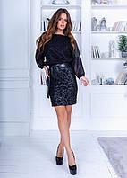 Оригинальное чёрное платье с юбкой карандаш из трикотажа, люрикса и эко кожи, сзади молния, пышный рук (42-46)