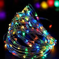 Медная проволочная лампа 100LED 10м БП 5В 220V (СП) RGB (RD-7110), Новогодгя гирлянда проволочная