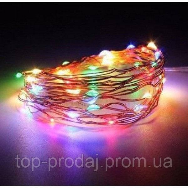 Медный провод 100м с подсветкой, (ЧП) USB RGB (RD-7112), Гирлянда медная проволочная, Гирлянда из проволоки