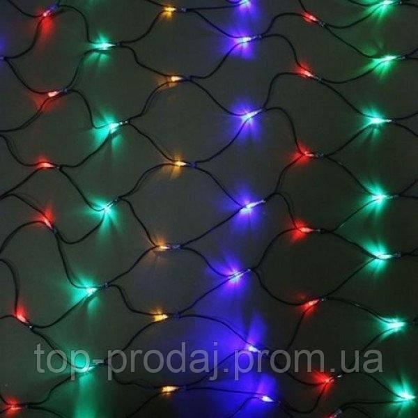 Сетка 200LED 2x2м Микс (RD-7163), Светодиодная гирлянда-сетка, Новогодняя разноцветная гирлянда на окно