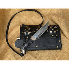 """Подарочный набор для мужчины """"Походный"""" - большая  фляга с ножом ручной работы и раскладными рюмочками, фото 2"""