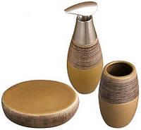 """Набор аксессуаров """"Sahara"""" для ванной комнаты 3 предмета, керамика"""