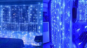 "Гирлянда ""Штора"" комнатная без мерцания 3*3м (640 ламп) синяя"