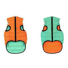 Курточка для собак Collar AiryVest Lumi двусторонняя, светящаяся, размер L 55, оранжево-салатовая