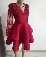 Бордовое платье с шикарным кружевом