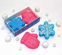 """""""Снежинка и варежка"""" натуральное подарочное мыло ручной работы"""