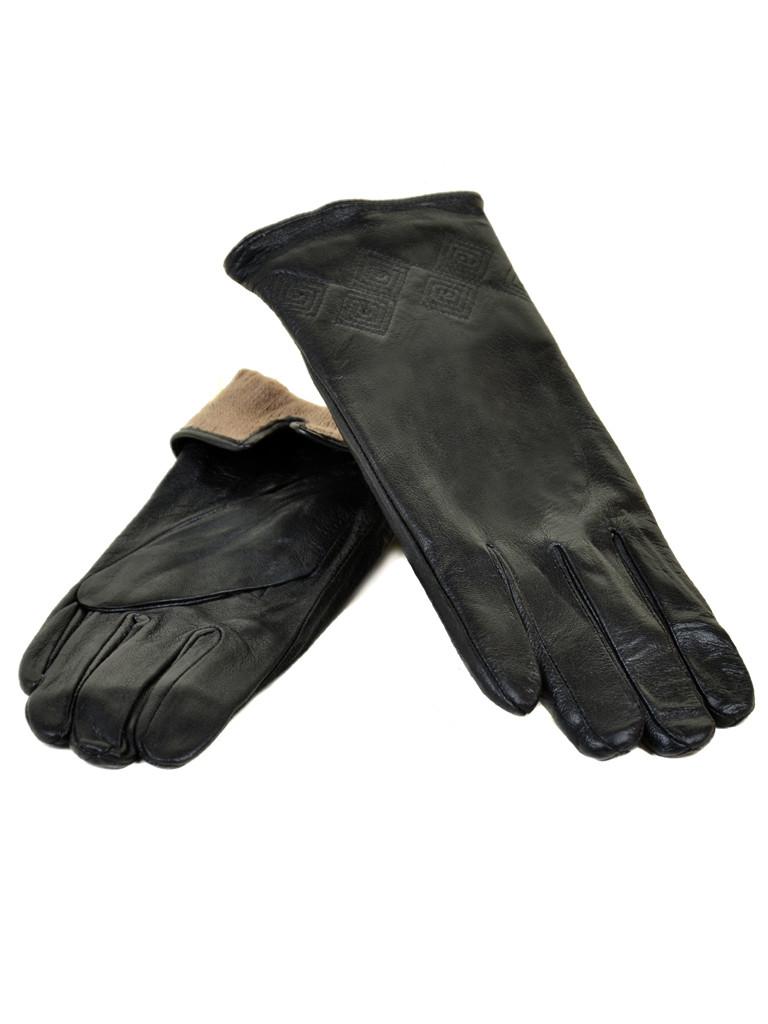 PODIUM Перчатка Женская кожа F24/17 мод11 black шерсть