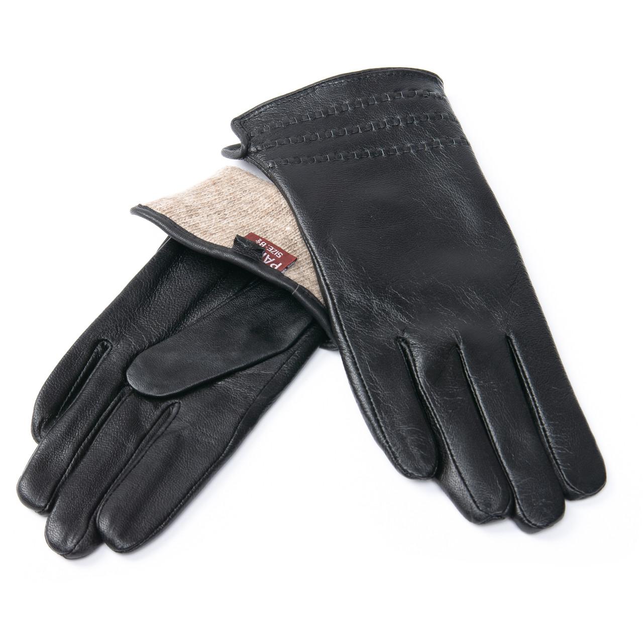 PODIUM Перчатка Женская кожа F24/19 мод7 black шерсть