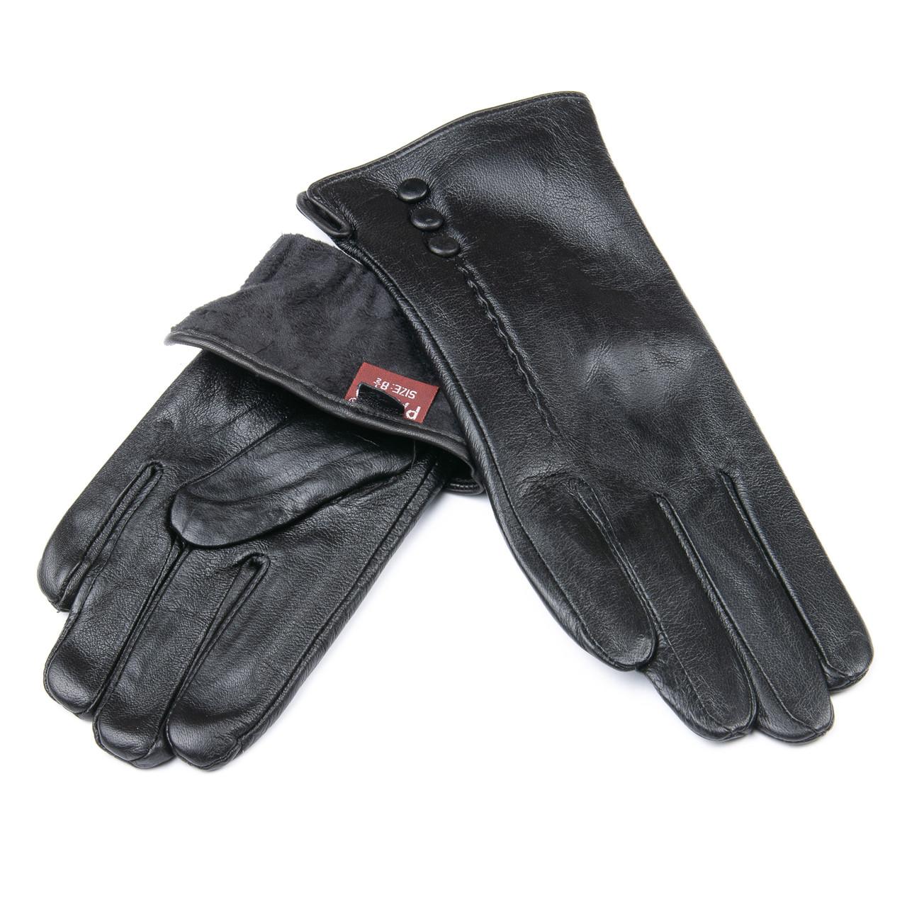 PODIUM Перчатка Женская кожа F24/19-1 мод1 black флис
