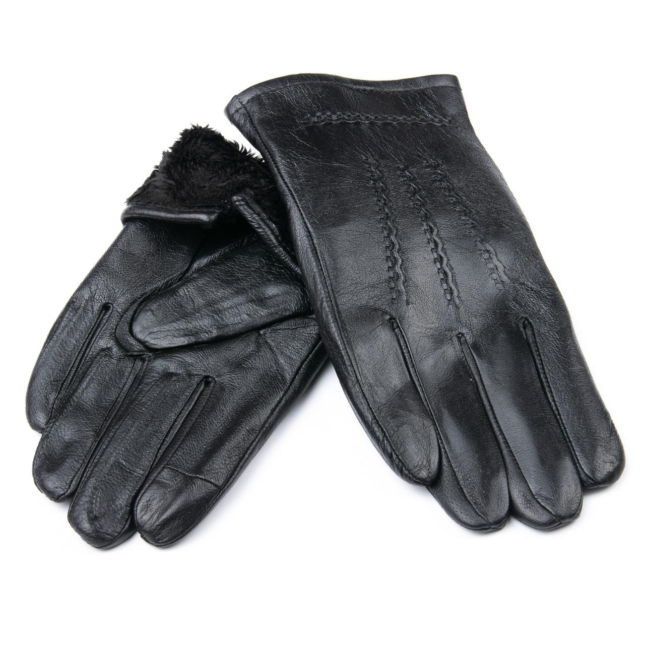 PODIUM Перчатка Мужская кожа M21/19-2 мод4 black шерсть