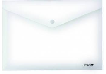 """Папка-конверт В5 прозрачная на кнопке Economix, 180 мкм, фактура """"глянец"""", белая E31302-14"""