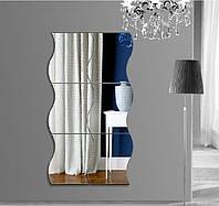 Honana DX-Y1 6Pcs Симпатичные Серебро DIY Волны Зеркало Стены Стикеры Главная Стена Спальня Офис Декор-1TopShop